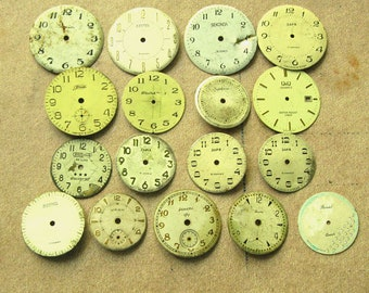 Vintage Watch Faces, Set of 17, Vintage Supplies, Steampunk Supplies, Watch Dial from Antique Movements, Altered Art, Wrist Watch Faces