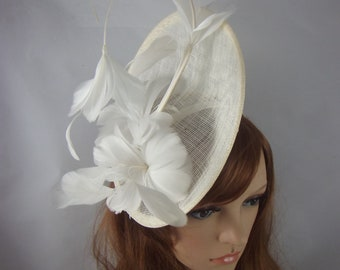 Ivory Cream Statement Curve Saucer Fascinator with Feather Flowers - Wedding Races Special Occasion