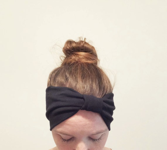 Black Headband Yoga Headband boho Cotton women's hair accessory headwrap workout headband jogging accessory gift for her - choose a color