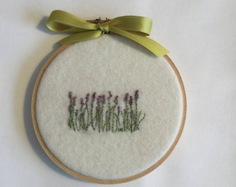 Embroidered lavender field