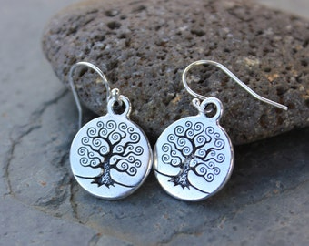 Tree of Life earrings - Celtic tree charms on sterling silver earwires - free shipping USA