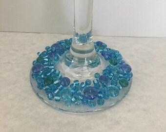 Blue beaded wine glass, blue wine glass, wine glass, embelished glass, decorated wine glass, decorated glass