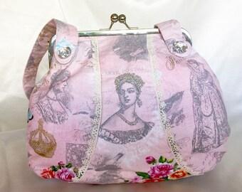 Vintage Style Kisslock Frame Pink Queen Handbag Shabby Chic Floral