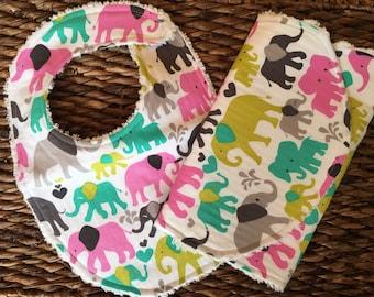 Elephant Bib, Baby Girl Bib, Chenille Bib, Absorbent Bib, Baby Gift, Pink Elephant