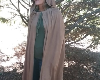 Hooded CAPE full length ultra suede BUCKSKIN cloak w/ tie at collar one size fits all