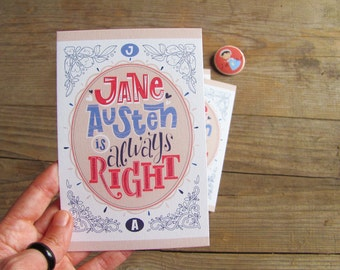 3 Jane Austen is Right cards, illustrated cards with envelopes
