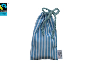 Soapnuts with fairtrade pouch for eco-friendly & eudermic laundry, blue white striped bag inlc. washnuts, try out, present, vegan