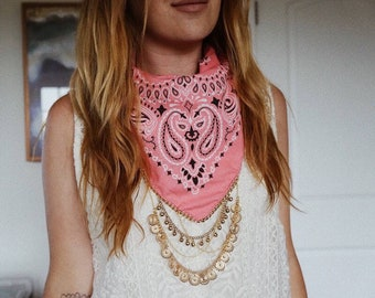 Pink Bandana with Gold chain and charms