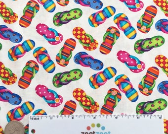 FLIP FLOPS WHITE Multi Printed Cotton Quilt Fabric Yard, Half Yard, or Fat Quarter Fq Summer Beach Kid's Fabric Sandals