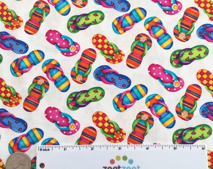 FLIP FLOPS WHITE Multi Printed Cotton Quilt Fabric Yard, Half Yard, or Fat Quarter Fq Summer Beach Kid's Fabric Sandals