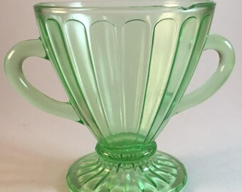 Hazel Atlas Ribbon Green Footed Open Sugar Uranium Glass