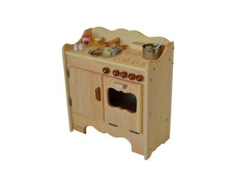 Natural Wooden Play Kitchen-Wooden Toy Kitchen- Waldorf Kitchen-Montessori play stove-Wooden Toys-Play Kitchen- Child's Waldorf Play Kitchen