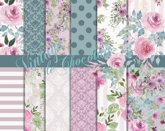 Digital Paper, Seamless Floral Scrapbook Paper, Roses with Teal Watercolor Florals, Digital Design Paper. No. P199