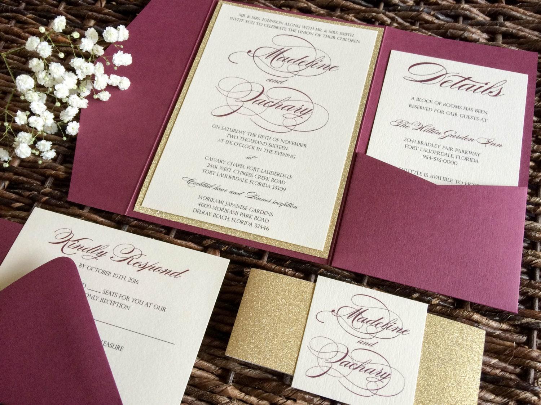 Burgundy Wedding Invitation Burgundy and Gold Glitter Pocket