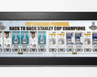 Pittsburgh Penguins Back to Back (2016 & 2017) Stanley Cup Champions Tickets to History Framed Print