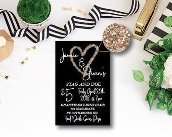 Black and Gold stag and doe ticket. Stag and doe ticket template. Buck and doe tickets. Printed stag and doe tickets