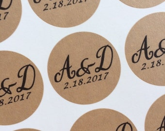 """Personalized Wedding Stickers, Wedding Favors Labels, Custom Labels, 1 1/2"""" Labels, Initials & Date, Kraft or White Labels"""