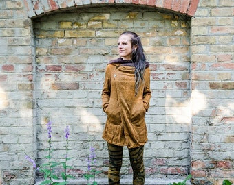 Cardigan, Wrap Jacket with Large Hood, Thumbholes and Pockets ~ camel-brown