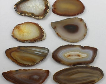 Brazilian Agate Slabs Natural Brown Rust Gold White Black Transparent Set of 8 - BA23