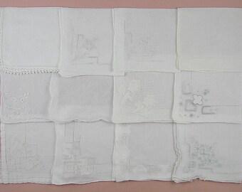 Vintage Hanky Lot One Dozen White Wedding Vintage Hankies Handkerchiefs  (Lot #99)