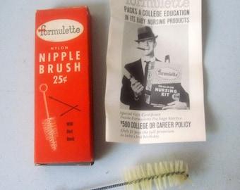 Vintage Formulette nipple brush for baby bottles