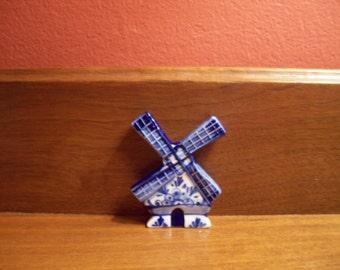 Vintage Blue & White Porcelain Refrigerator Magnet
