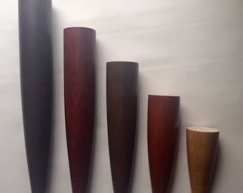 "Danish Style Furniture Legs. Cherry or Oak Wood. Great For Sofas, Beds, Chairs, Tables etc. Choice of Stain Colors. 4""- 12"" Set of 4"
