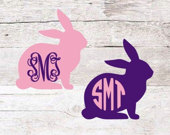 Bunny Monogram Decal | Easter Decal | Yeti Decal | Kids Decal | Cute Decal | Rabbit Monogram