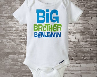 Big Brother Onesie, Personalized Infant, Toddler or Youth Tee Shirt Blue and Green Text t-shirt or Onesie 06142012a