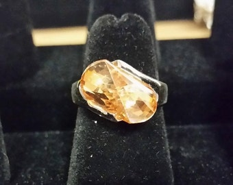 Silver Ring with Orange stone