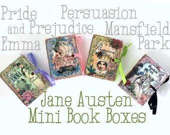 Jane Austen Miniature Book Party Favors | Mini Books | Birthday Shower Tea | Emma Persuasion Mansfield Park Pride Prejudice | Personalize 24