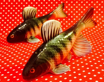 Fancy Trout Fish Salt and Pepper Shakers made in Japan circa 1950s