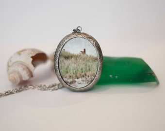 Photography Lockets, Cottage in the Sand Dunes, Cape Cod Photos, Oval Lockets, 40 mm x 30 mm