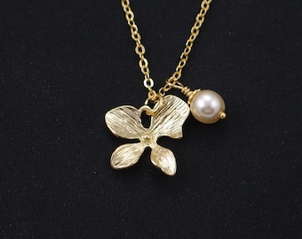 orchid necklace, gold filled, Swarovski pearl choice, gold flower charm, bridesmaid jewelry, bridesmaids gifts, mothers, everyday jewelry