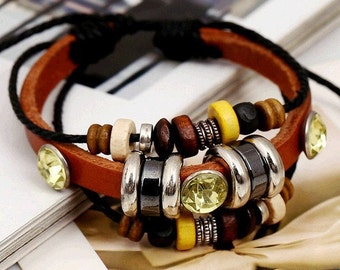 Brown Leather and hand woven black rope braided bracelet