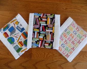 Set of 3 Teacher Burp Cloths - Baby Shower Gift