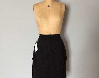 90s two pocket mini skirt | black stretch mini skirt