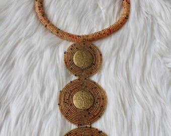 Beaded Gold East African Necklace