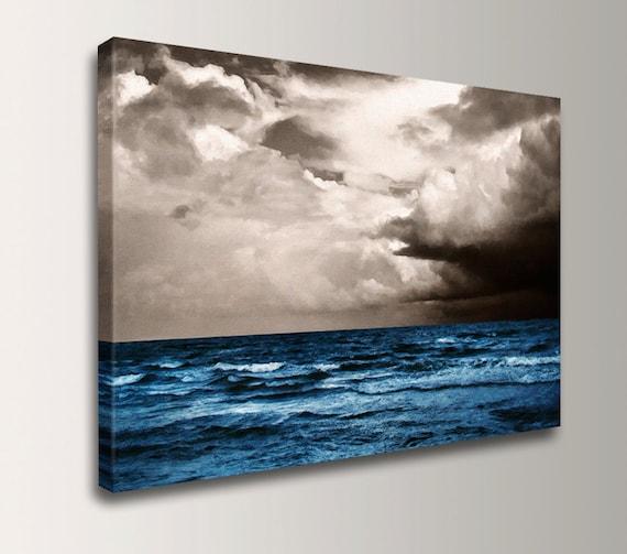 "Beach Art - Canvas Print of a Painting of Blue Ocean and Sky - Coastal Wall Art - ""At Sea """