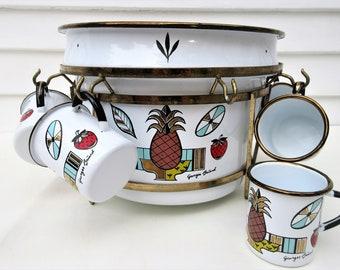 Vintage Enamel Serving Pot | George Briard Enamel | Punch Bowl Set | Enamel Dipper | Brass Stand | Ambrosia | Enamel Mug Set | Pineapples