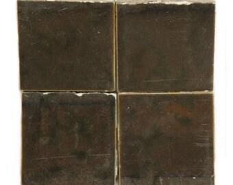 Set of dark olive green matte tiles