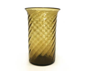 Swirled Amber Handblown Glass Vase