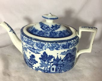 Blue And White Teapot From 1800's England