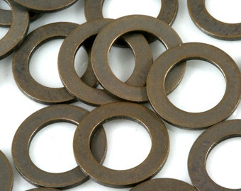 120 Pcs Antique brass Tone Brass 10 mm Circle tag 2 hole connector Charms ,Findings 631AB-32