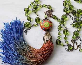 Sale - Boho necklace, tassel necklace, bohemian colors, earthy colors, gypsy necklace, gypsy jewelry, ombre tassel, tassle necklace, blue