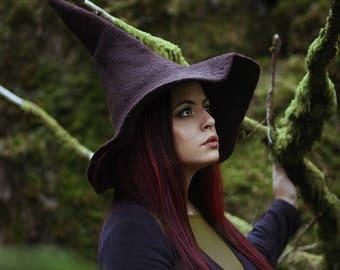 Brown sorcière chapeau magicien magie chapeau brun-wool Felt haut chapeau pointu