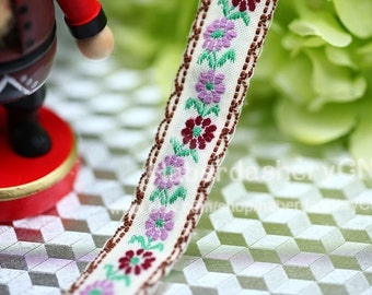 10 yards M25 woven jacquard ribbon with floral pattern