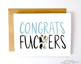 Funny Wedding Card, Wedding Shower Card, Wedding Congrats Card, Engagement Card, Bride Card, Card for Newlyweds, Card for Wedding, Fucker