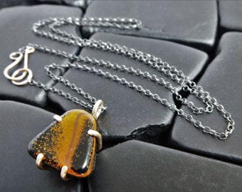 Tiger Eye and Sterling Silver Pendant - Black Stone Necklace - Silver and Gold Necklace - Tiger's Eye Necklace - Two Tone Necklace