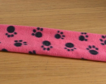 Fleece Fabric Girth Sleeve Cover * PINK and BLACK PAW Print * One Size